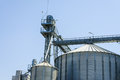 Grain silo metallic agriculture storage structure Stock Photography