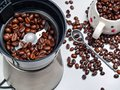 Grains of coffee in an electric coffee grinder, scattered grains Royalty Free Stock Photo