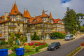 Gramado brazil may nice hotel built in a german style with yellow walls wood columns and red roof tiles Royalty Free Stock Photo