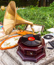 Gramophone the as antiques for sale vintage music device Stock Photo