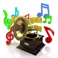 Gramophone notes registration information related to music retro Royalty Free Stock Photography