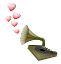 Gramophone retro with heart song love concept Royalty Free Stock Photo