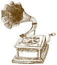 Gramophone vector retro illustration charm of ancient music Stock Photography