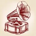 Gramophone- vintage hand drawn vector llustration sketch