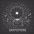 Gramophone vintage label, Hand drawn sketch, grunge textured retro badge, typography design t-shirt print, vector illustration on Royalty Free Stock Photo