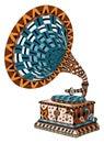 Gramophone. Zentangle Stylized...