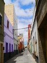 Gran canaria alleyway beautiful canaries with perfect contrastiing colors Royalty Free Stock Photography