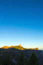 Gran Canaria, Caldera de Tejeda, sunrise over Roque Nublo  mount Royalty Free Stock Photo