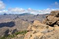 Gran canaria mountain landscape view from roque nublo peak Royalty Free Stock Photography