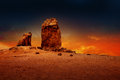 Gran canaria roque nublo dramatic sunset sky Royalty Free Stock Photo