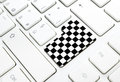 Gran prix motor race finish chess flag concept enter button key white keyboard Stock Image