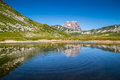 Gran sasso mountain lake reflection apennine mountains abruzzo italy beautiful landscape with d italia peak at campo imperatore Stock Photos