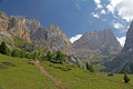 Gran vernel and marmolada from contrin valley the walls of close Royalty Free Stock Image