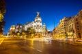 Gran via madrid main shopping street in spain at dusk Royalty Free Stock Image