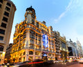 Gran via madrid s most famous street at early evening for articles about or spain in general Royalty Free Stock Image