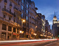 Gran via street, Madrid, Spain. Stock Photo