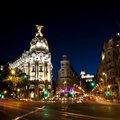 Gran via street in Madrid, Spain Royalty Free Stock Photography