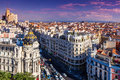 Gran via street madrid spain Royalty Free Stock Images