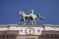 Granada city hall horse sculpture on the top of the facade spain Royalty Free Stock Photo