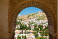 Granada cityview through window of alhambra view a wonderful Stock Images