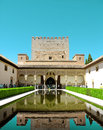 GRANADA, SPAIN - MAY 6, 2017: Alhambra, Granada, Spain. The Nasrid Palaces Palacios Nazara­es in the Alhambra fortress Royalty Free Stock Photo