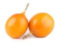 Granadilla ripe passion fruits on white Royalty Free Stock Photo