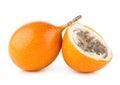 Granadilla ripe passion fruits on white Royalty Free Stock Photography