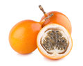 Granadilla ripe passion fruits on white Stock Images