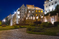 Granaries of Grudziadz city at night Royalty Free Stock Photos