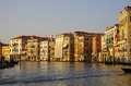 Grand canal panoramic view on sunset over venice italy Royalty Free Stock Photography
