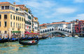Grand Canal with the Rialto Bridge in Venice Royalty Free Stock Photo