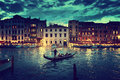 Grand Canal in sunset time, Venice, Italy Royalty Free Stock Photo