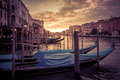 Grand Canal at sunset in Venice Royalty Free Stock Photo