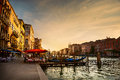 Grand Canal after sunset, Venice Royalty Free Stock Photo