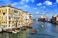The grand canal in venice italy april view of from ponte dell accademia on april this main is meter long meters Royalty Free Stock Photo