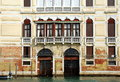 The grand canal venice italy one of venetian palaces architecture details windows doors view on building from Royalty Free Stock Photo