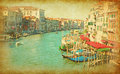 The grand canal in venice italy view from rialto bridge added paper texture Royalty Free Stock Photography