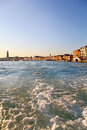 Grand Canal, view from vaporetto in Venice Royalty Free Stock Photo