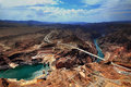 Grand canyon arizona az usa a panoramic view of the grand canyon nati hoover dam and colorado river bridge in national park Stock Photos