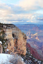 Grand Canyonpanoramasikt i vinter med snow Royaltyfria Foton