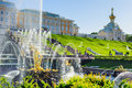 Grand cascade fountains in Petergof, St Petersburg , Russia Royalty Free Stock Photo