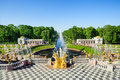 Grand cascade fountains in Petergof, St Petersburg, Russia Royalty Free Stock Photo