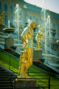 Grand Cascade Fountains At Peterhof Palace Royalty Free Stock Photo