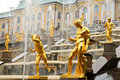 Grand Cascade fountains in Peterhof, Russia Royalty Free Stock Photography