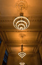Grand central station hall new york city united states may roof and ceiling decoration and lightning of the halls inside in a Stock Photos