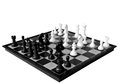 The grand chessboard opening gambit on a white background Stock Photos