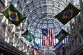 Grand Concourse decorated with international flags at O`Hare International Airport in Chicago Royalty Free Stock Photo
