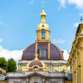 Grand ducal burial vault imperial house of romanov in the peter and paul cathedral fasade is a located inside Royalty Free Stock Photo