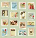 Grand ensemble de timbres-poste Photographie stock libre de droits