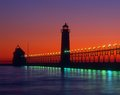 Grand haven lightouse michigan sunset Royalty Free Stock Images